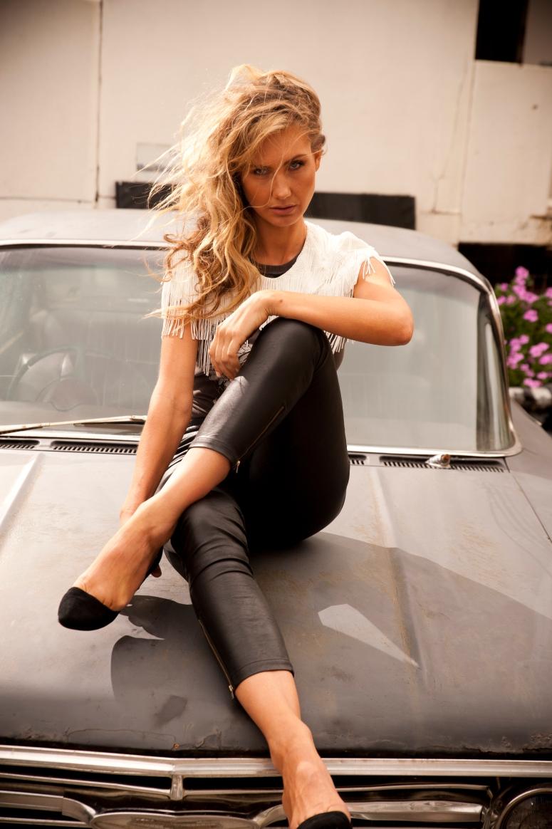 Sass & Bide white beaded shoulder piece, vintage band teee, Camilla & Marc pants, stylists own stilettos,