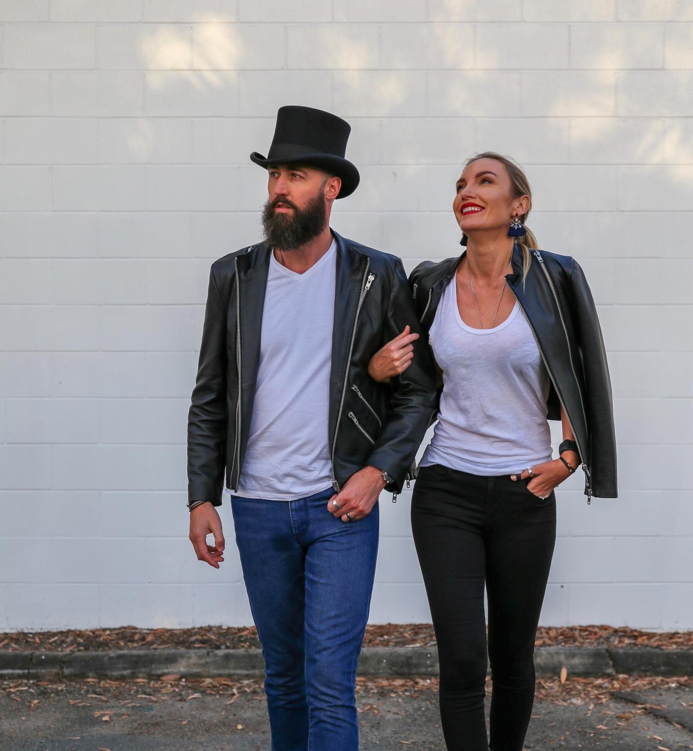 Leather Jacket, Couple shot, Denim, Sunshine Coast, Fashion Blogger, Jill Wright