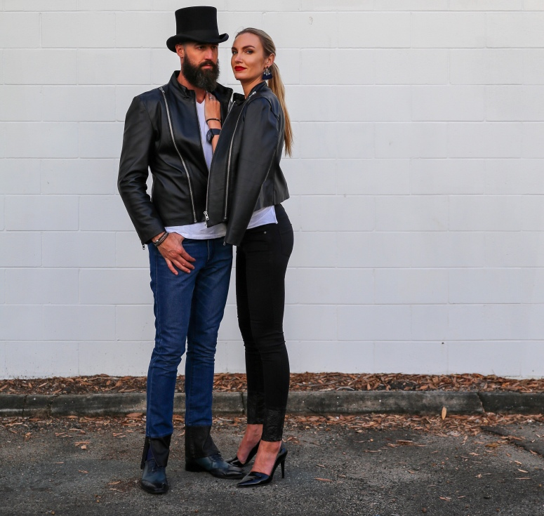 Leather Jacket, Couple shot, Denim, Sunshine Coast, Fashion Blogger